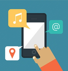 Hand hold smart phone - music mail location icons vector image