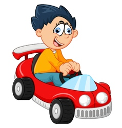 Little boy playing with his car toy vector