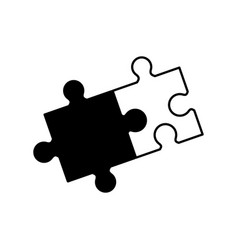 puzzle solution collaboration monochrome vector image vector image