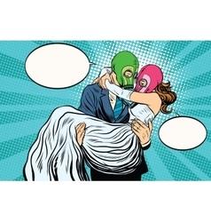 Radioactive Apocalypse wedding the bride and groom vector image