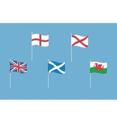 set of great britain flags with england vector image