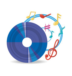 vinyl record with musical notes vector image