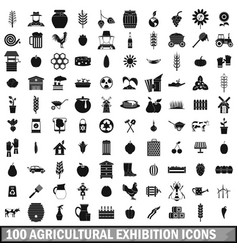 100 agricultural exhibition icons set vector