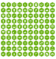 100 different gestures icons hexagon green vector