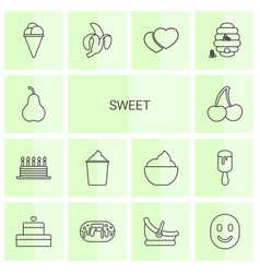 14 sweet icons vector