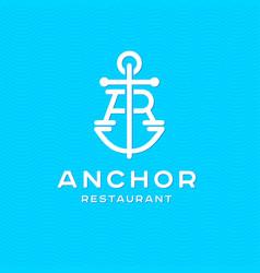 A and r monogram anchor restaurant logotype logo vector
