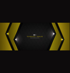 abstract black and yellow tech glossy design vector image
