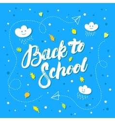 Back to school hand written lettering on blue vector image
