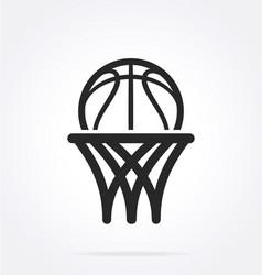 basketball logo simple line drawing vector image