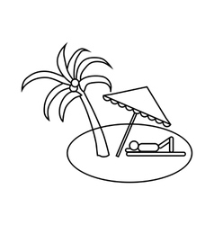 Beach icon outline style vector