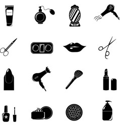 beauty salon set of black icons new business vector image