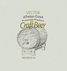 beer logo template hand drawn beer barrel vector image