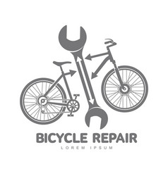 Bicycle repair workshop logo template vector