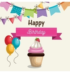 Birthday card cupcake sweet party vector
