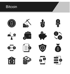 bitcoin icons design for presentation graphic vector image