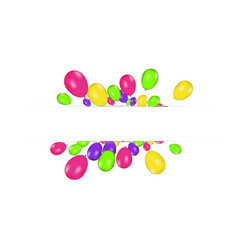 Blank banner with color balloons isolated on white vector