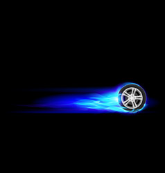 blue burning wheel on black background vector image