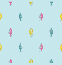 Blue cacti modern youthful pattern seamless vector