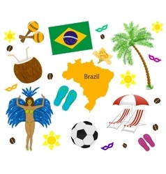 Brazil symbol map and flag over white vector