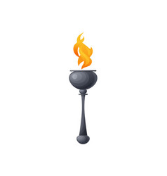 burning torch in metal stick fire symbol peace vector image