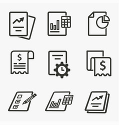 business report icon set isolated vector image