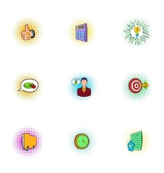 Business time icons set pop-art style vector image