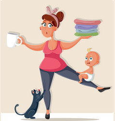 busy mom feeling overwhelmed with household chores vector image