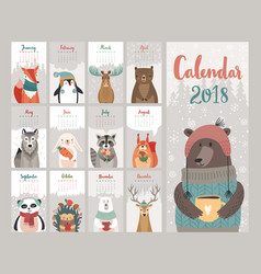 Calendar 2018 cute monthly calendar with forest vector