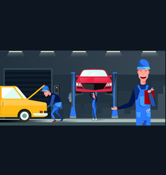 car repair maintenance autoservice center garage vector image