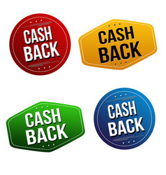 cash back sticker or label set vector image