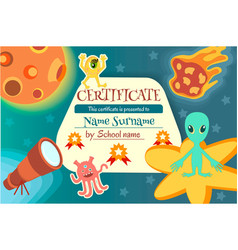 Certificate for a teaching game or a childrens vector