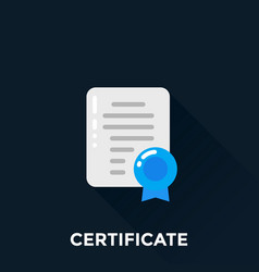 certificate icon flat style vector image