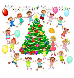 Children rejoice at the christmas tree vector