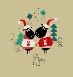 christmas card with couple of funny moose vector image