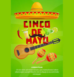 cinco de mayo mexican party greeting banner design vector image