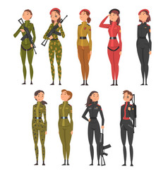 collection young woman soldiers or officers in vector image