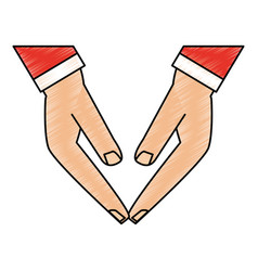 Color pencil front view hands touching with sleeve vector