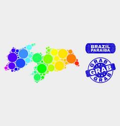 colored mosaic paraiba state map and grunge grab vector image