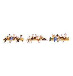 Community concept set diverse people s groups vector