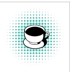 Cup of coffee comics icon vector
