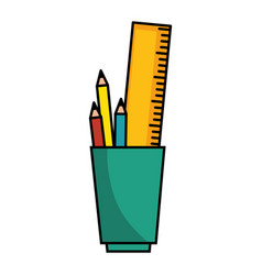 cup with pencils icon vector image
