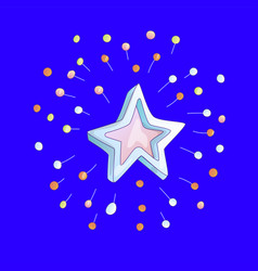 cute cartoon star icon with sparkles on blue vector image
