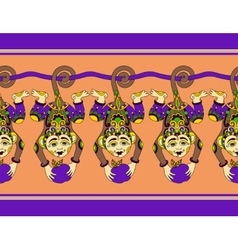 Cute ethnic hang monkey seamless ribbon pattern vector