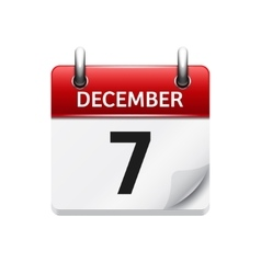 December 7 flat daily calendar icon Date vector