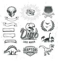 Dino logo maker set Dinosaur logotype creator vector