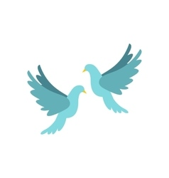 Doves icon flat style vector