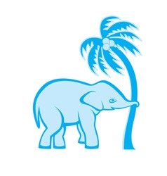 elephant pulling palm vector image