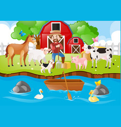 Farm scene with farmer and animals by river vector