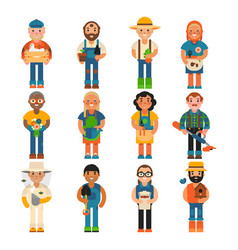 Farmer worker people character agriculture person vector