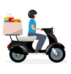 Fast food delivery service flat motorcyclist vector